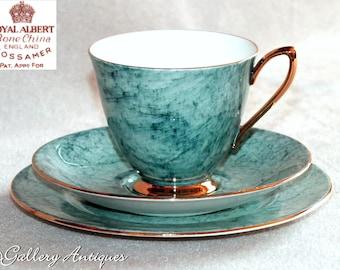 Vintage Royal Albert Gossamer Pattern marbled Blue tea Trio 1st Quality c.1950s teacup saucer side plate