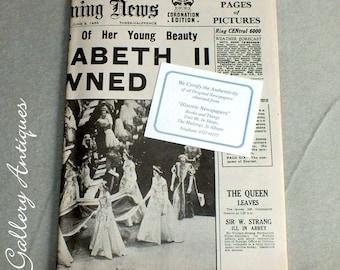 Vintage Evening News Newspaper Coronation Edition from Tuesday June 2 1953 Headline Queen Elizabeth II is Crowned - royal memorabilia (5011)