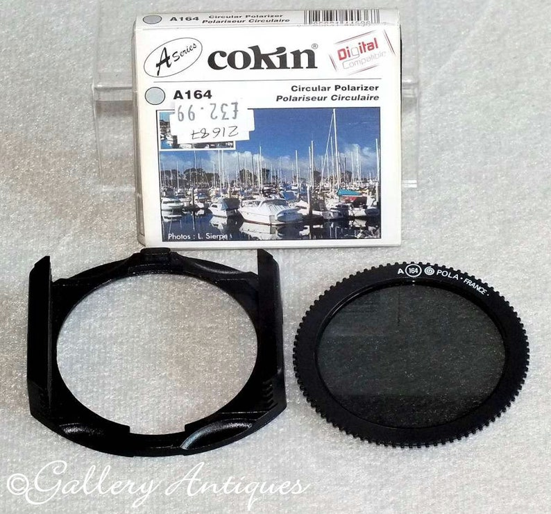Vintage Cokin A164 A Series Circular Polarizer Photographic Camera Filter  with Filter Holder for Square Cokin Filters 4 slots 62mm c 1990's
