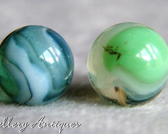 Pair of Vintage poss Master Glass Co brushed patch Green & White Marbles sunburst c.1930s