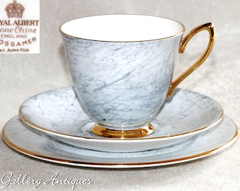 Vintage Royal Albert Gossamer Pattern marbled Grey tea Trio 1st Quality c.1950s teacup saucer side plate