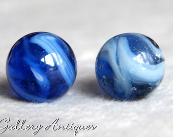 Pair of Vintage Dutch or German Transitional Blue & White Swirl Glass Marbles c.1960s