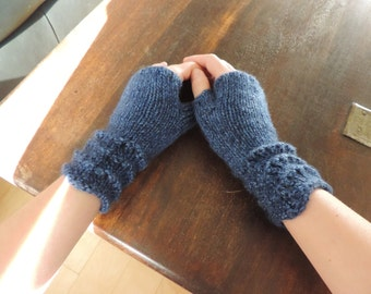 100% Wool,  Hand Knit Wrist Warmers, Fingerless Mitts – SHORT (6.5in, 16.5cm) - Many Colours Available - Made to Order