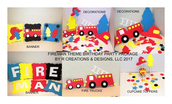Birthday Party Decoration Package Fireman Decorations