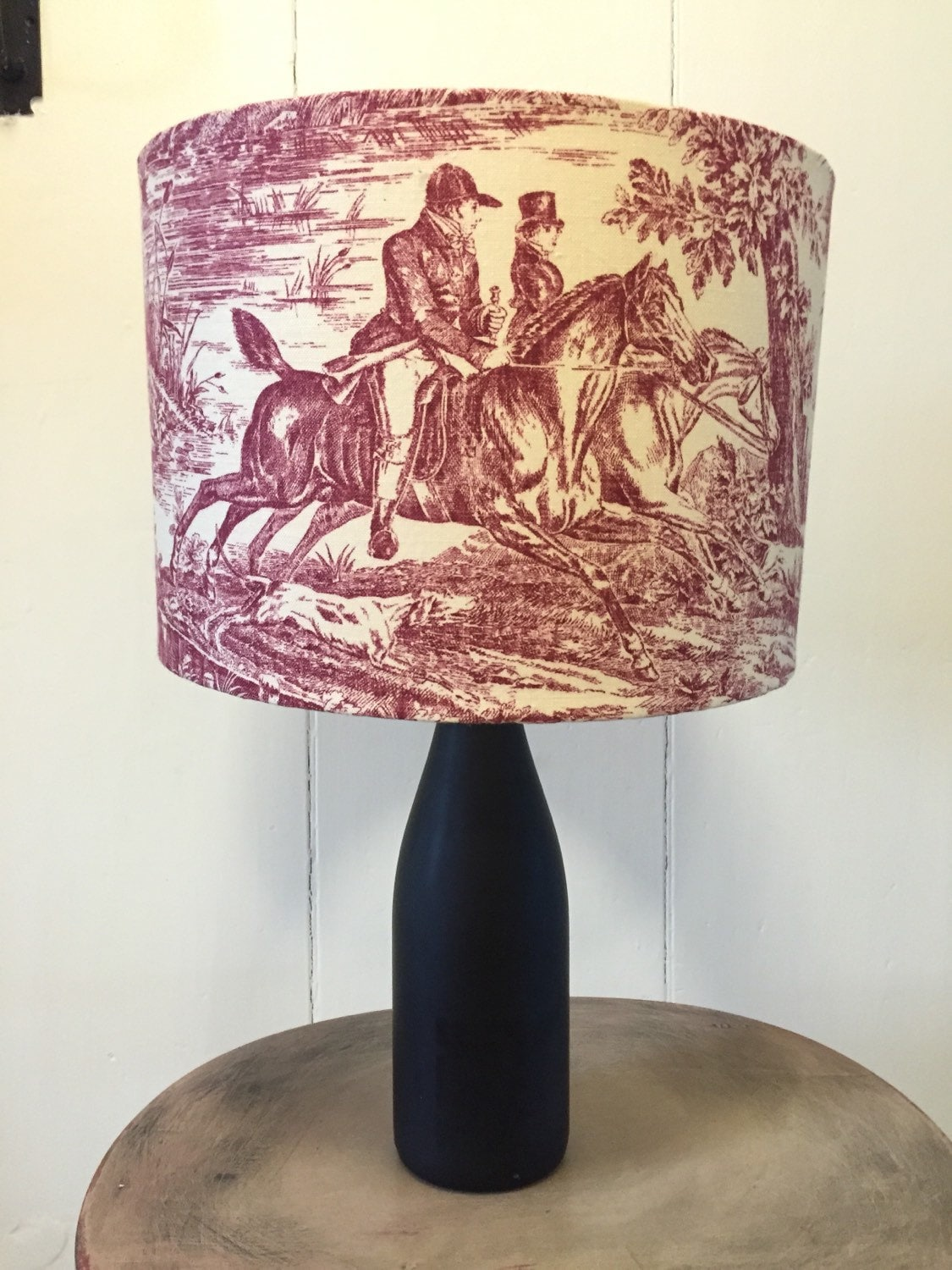 Victorian hunting scene red toile lampshade aloadofball Choice Image