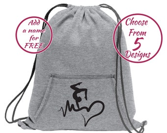 Embroidered Personalized Cinch Sack Backpack Sports Gym Cheer Dance Soccer Gymnastics Monogrammed Drawstring Cinch Tote Backpack Bag Beach