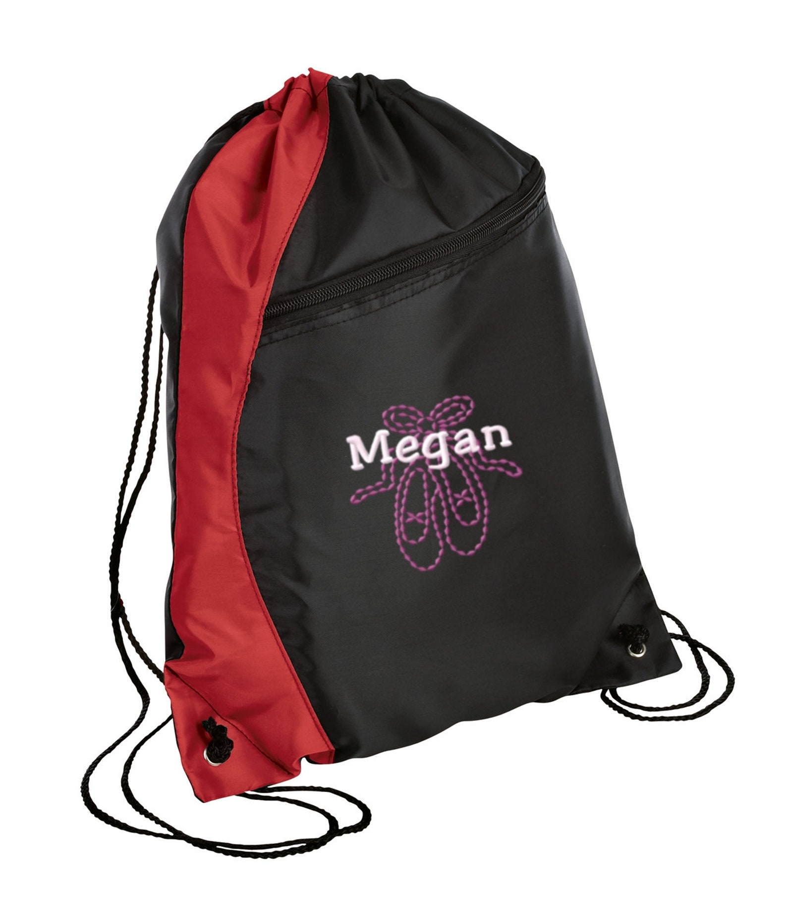 personalized ballet shoes drawstring colorblock cinch pack sackpack with free personalization & free shipping bg80
