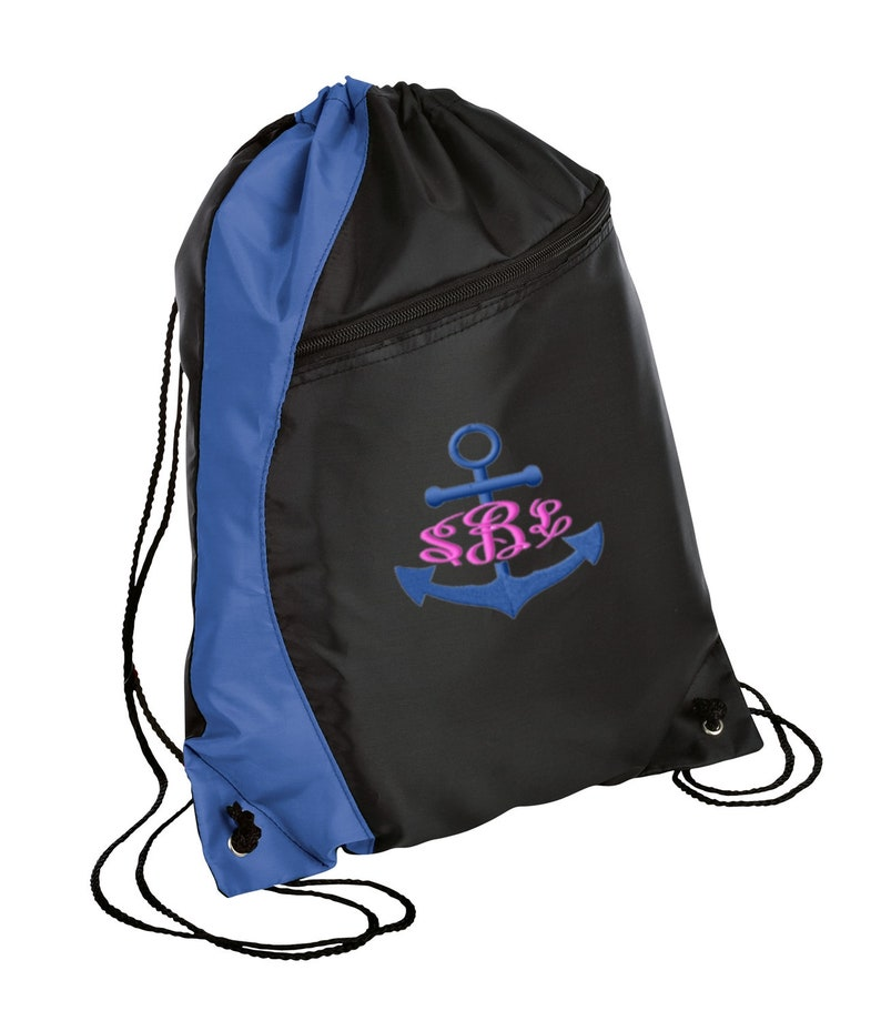 Personalized Anchor Drawstring Colorblock Cinch Pack Sackpack with FREE Personalization /& FREE SHIPPING BG80