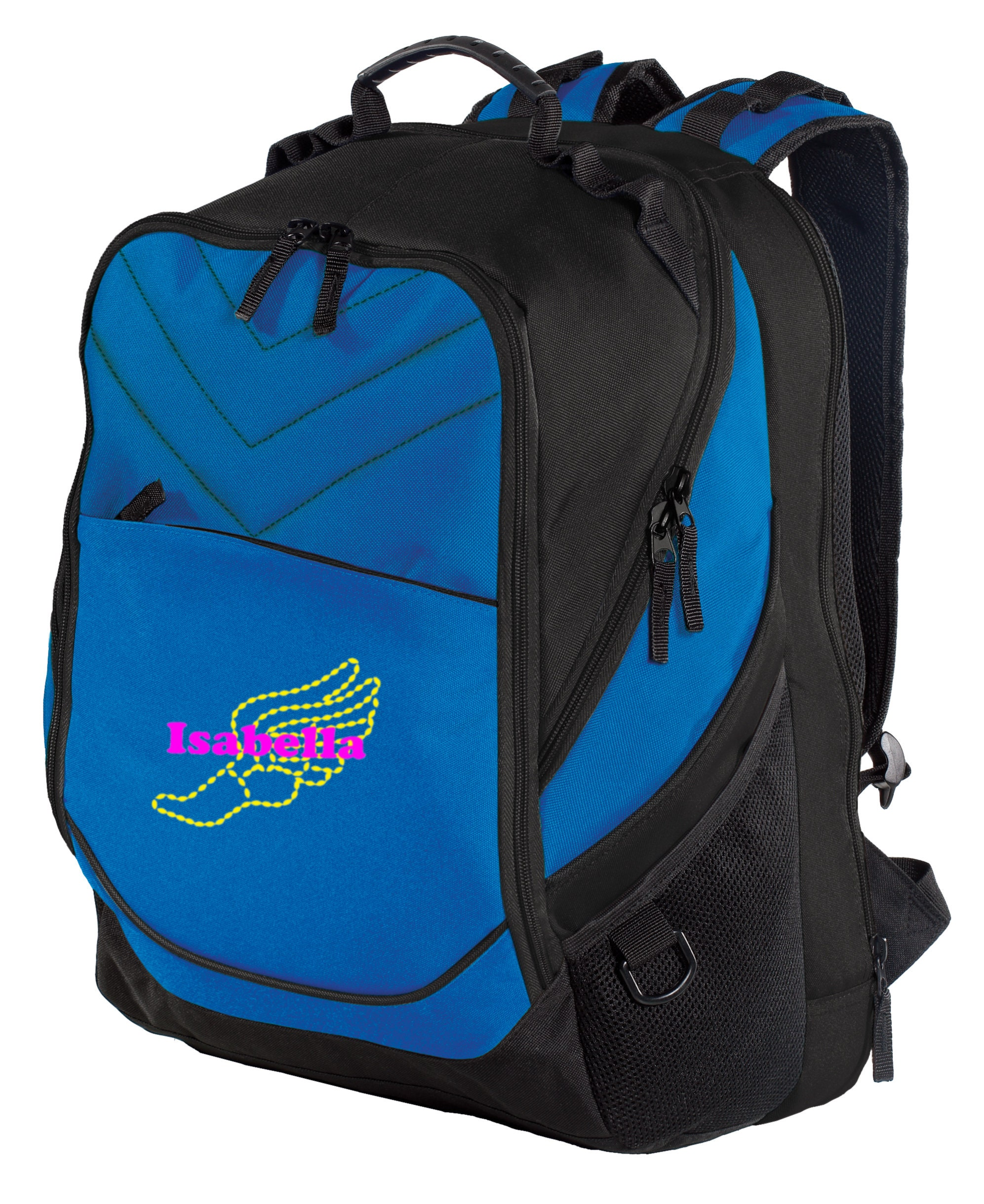 Dark Grey//Black//Shock Blue Personalized Basketball Backpack with Custom Text Heavy Duty School Bag with Customizable Embroidered Monogram Design
