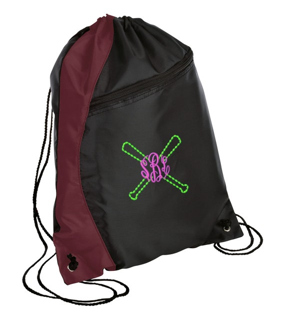 Personalized Cross Bats Colorblock Sackpack Bag with FREE 0f47b0689