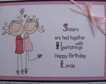 Hand Drawn Sisters Birthday Card For That Very Special Sister This Can Be PERSONALIZED At No Extra Charge To Include Recipients Name