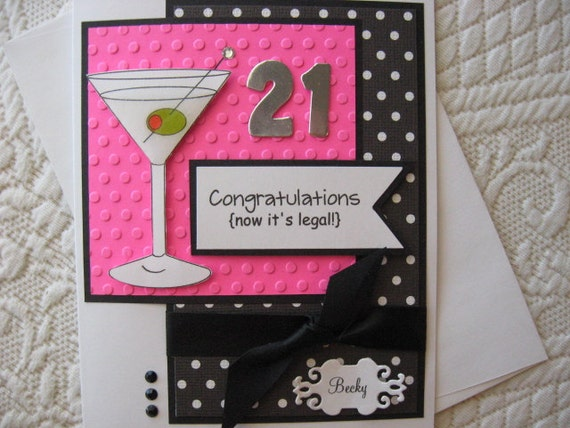 Personalized This 21st Birthday Card Featuring Martini Glass