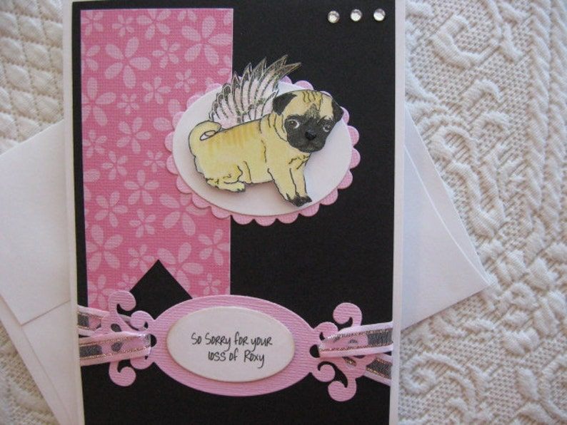 Sympathy It features a darling little Pug with glittery angel wings loss of Pug sympathy card personalize at no extra charge