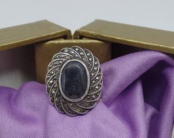 Sterling Silver - Black Onyx and Marcasite Ring- size 6