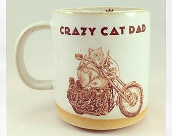 Crazy Cat Dad Motorcycle Mug