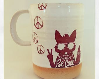 Be Cool Stay Cool- fox & rabbit peace mug