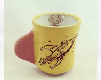 Blast Off Rocket Ship- espresso cup