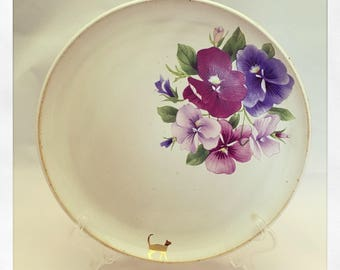 Stroll on By- color flower and 24k gold Cat- One-of Dinner Plate
