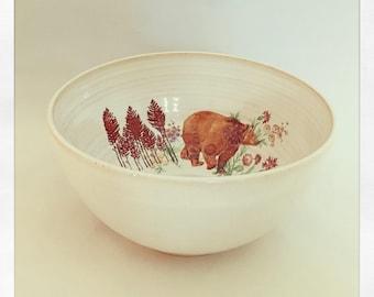 A Walk in the Woods- Bear & Flowers Medium Bowl