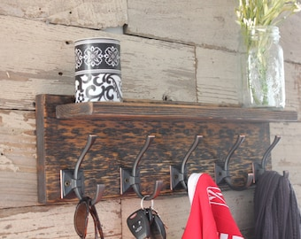 Entryway Coat Rack and Floating Shelf - Distressed with Antique Bronze Hooks and Shelf