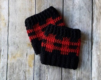 Buffalo Plaid Boot Cuffs, Toddler to Large Size