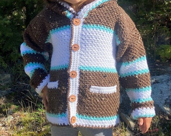 Child Sweater Boy Girl Size 7, Beaver Sweater 6 Year Old, Children Sweater Crochet, Wildlife Hoodie, Buttoned Jacket Crochet Kids, Bahde