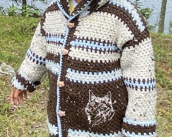 Children Sweater Girl Boy Size 6, Kitten Sweater 5 Year Old, Brown Blue Hooded Luxury Jacket Cat, Kids Crochet Hoodie Buttoned, Bahde