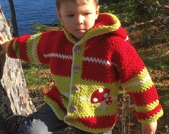 Sweater Boy, Crochet Sweater Girl Size 5, Child Sweater 4 Year Old, Green & Red Hooded Sweater, Mushroom Jacket Kids, Hooded Sweater, Bahde