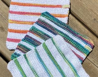 Cotton Dishcloth Set 3, Hand Knit Dish Cloth, Orange Green White Dish Rag, Baby Washcloth Cotton, Peaches Cream Dishcloth, Handmade, Bahde