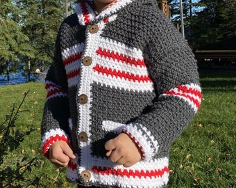 Child Sweater Boy Girl Size 8,  Gray Squirrel Sweater 7 Year Old, Crochet Sweater Kids, Buttoned Jacket Wildlife, Work Sock Sweater, Bahde