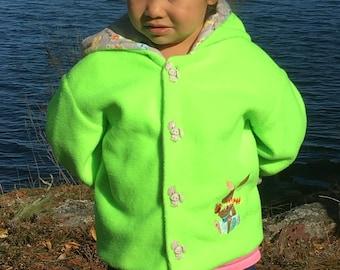 Spring Jacket Children 4T, Personalized Jacket Kids, Child Jacket Rabbit, Hooded Jacket Girl, Lined Jacket Boy, Fall Jacket Green, Bahde