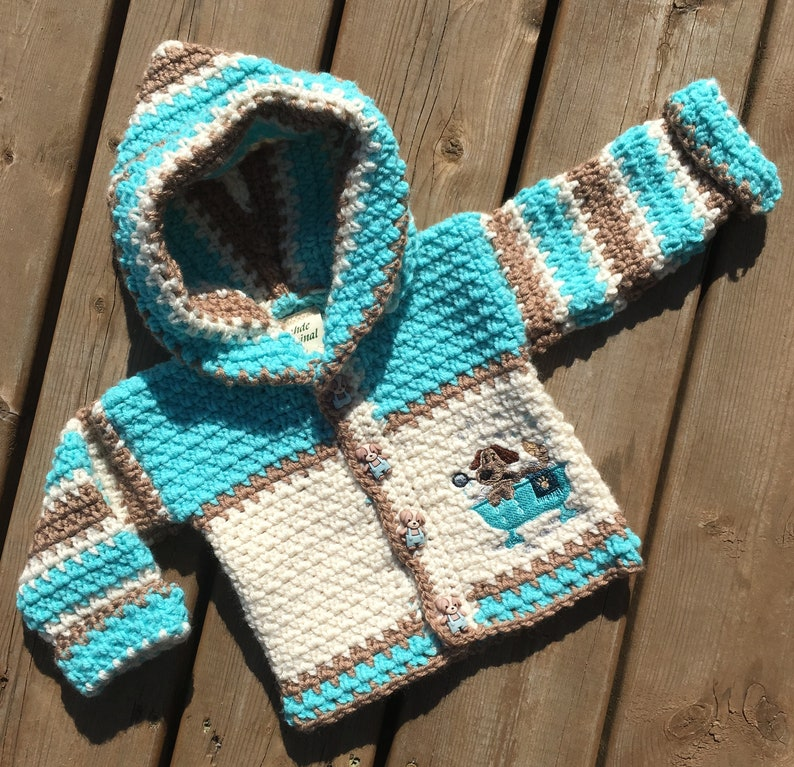 8c142872739 Baby Sweater Size 6-9 months   Crochet Puppy Hoodie for Boy or