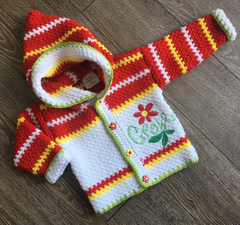 d2f192efc1db Baby Girl Sweater 12-18 months   Crochet Red Flower Jacket