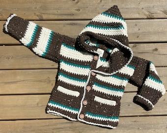 Children Sweater Girl Boy Size 6, Beaver Sweater 5 Year Old, Hooded Wildlife Sweater Kids, Brown & Teal Green Crochet Sweater Pockets, Bahde