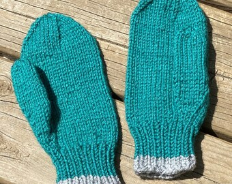 Knit Mittens Child Size Large Boy Girl, Knit Gloves Kids, Seamless Thumbed Teal Green Mittens, Acrylic Wool Mittens Winter, Handmade Bahde