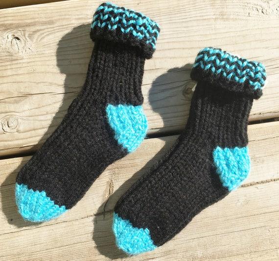 Tricot chaussettes enfants, taille chaussure enfant 8-9, au chaud les enfants chaussettes, chaussettes de travail enfant, chaussettes de lit enfant, chaussettes enfant en bas âge, enfant chaussettes d'hiver