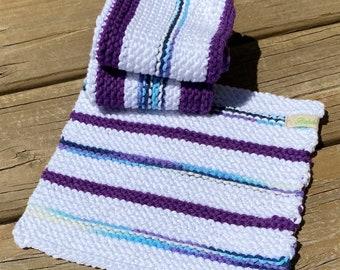 Knit Cotton Dishcloth, Sugar & Cream Dishcloth set 3, Blue Dishcloth, Purple Dishcloth, Mother's Day Gift, Cotton Washcloth, Handmade Bahde