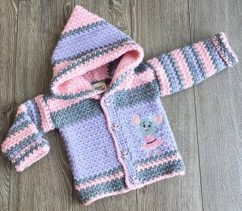 7299a7346093 Baby Sweater Girl 12-18 months   Crochet Hooded Mouse Jacket