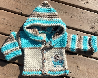 Baby Sweater Size 6-9 months, Puppy Sweater Girl, Crochet Sweater Boy, Baby Shower Gift, Hooded Baby Jacket New Born Baby Hoodie, Bahde