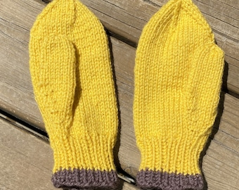 Knit Mittens Child Size Large Boy Girl, Knit Gloves Kids, Seamless Thumbed Mustard Mittens, Acrylic Wool Mittens Winter, Handmade Bahde