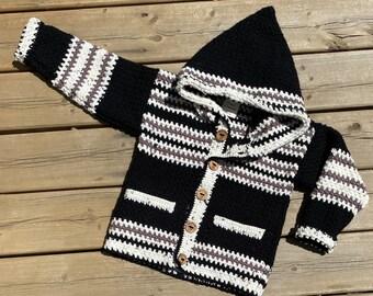 Children Sweater Girl Boy Size 6, Bear Sweater 5 Year Old, Hooded Wildlife Sweater Kids, Black Crochet Sweater Pockets, Northwoods, Bahde