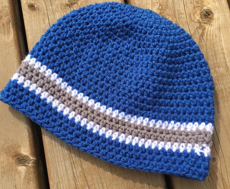 d828bd6b26b Beanie Hat   Blue   Gray Skull Cap   Crochet Acrylic Wool