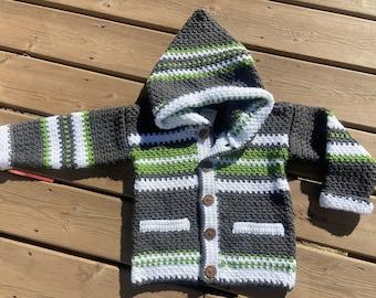 Children Sweater Boy Girl Size 5, Crochet Sweater 4 Year Old, Gray Hood Sweater Squirrel, Kid Sweater Wildlife, Crochet Jacket Child, Bahde