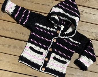 Children Sweater Girl Size 6, Bear Sweater 5 Year Old, Hooded Wildlife Sweater Kids, Black Crochet Sweater Pockets, Canada Sweater, Bahde