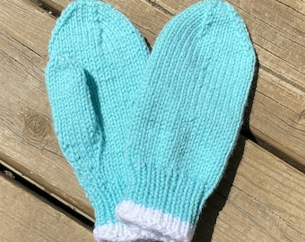 Knit Mittens Child Size Large Boy Girl, Knit Gloves Kids, Seamless Thumbed Blue Mittens, Acrylic Wool Mittens Winter, Handmade Bahde