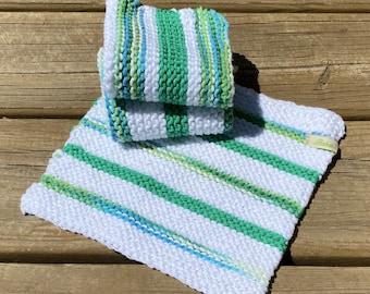 Cotton Dishcloth Set of 3, Hand Knit Dish Cloth, Brown Green White Dish Rag, Baby Washcloth Cotton, Peaches Cream Dishcloth, Handmade, Bahde