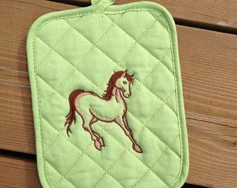Horse Pot Holder, Pot Holder, Horse Kitchen Decor, Green Pot Holder, Hot Pad, Hostess Gift, Shower Gift, Stocking Stuffer, by Bahde