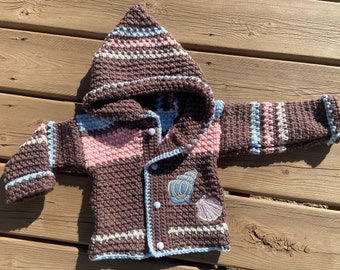Crochet Sweater Baby Girl 9-12 months, Hooded Jacket Baby, Sea Shell Baby Gift Handmade, Seashell Sweater Baby,  Buttoned Sweater, Bahde