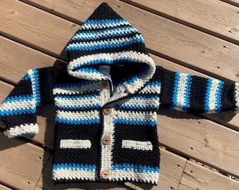 Child Sweater Girl Boy 4T, Bear Sweater 3 Year Old, Crochet Jacket Kids, Hooded Sweater Kids, Buttoned Sweater Black & Blue, Bahde