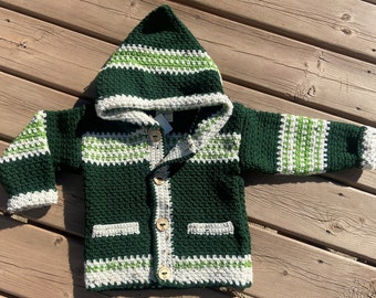 Child Sweater Girl Boy 4T, Beaver Sweater 3 Year Old, Crochet Jacket Kids, Hooded Sweater Kids, Buttoned Sweater Pockets Green, Bahde